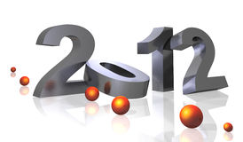 2012 plate. Illustration of number of new year 2012 of gray color, silver plating on white bottom Royalty Free Stock Image