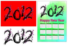 2012 plum tree. A set of 2012 design element, 2012 shape plum tree, 2012 calendar Stock Photography