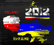2012 Poland & Ukraine. 2012 Poland & Ukraine with grunge brush style map Royalty Free Stock Photography