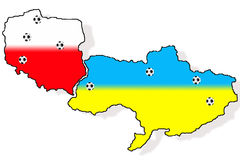 2012 Poland & Ukraine maps. 2012 Poland & Ukraine maps on the white background Royalty Free Stock Photography