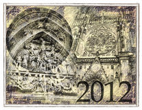 2012 predicts. Freemasons and Nostradamus symbols stock illustration