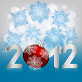 2012 print on winter  background. 2012 print on winter background with snowflakes and stars Stock Images