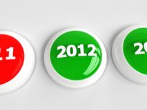2012 push button. Gloossy 2012 push buttons on white floor Stock Image