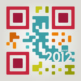 2012 qr code. In cool colors Royalty Free Stock Photography