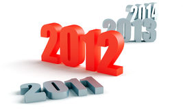 2012 in red. Number of past and future years, and 2012 in red Stock Images