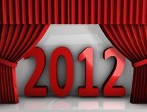 2012 red curtain. 3d rendering, conceptual image, Red curtain new year 2012 Stock Photos