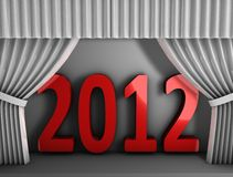 2012 red curtain. 3d rendering, conceptual image, Red curtain new year 2012 Royalty Free Stock Photo