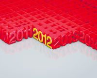 2012 red and gold number. Illustration 3d, 2012 red and gold number Stock Photography