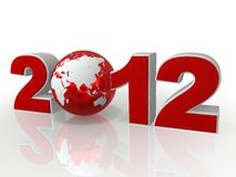 2012 red numbers with the planet. Red numbers with a planet on a white background, the new 2012 Stock Images