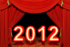 2012 with red stage theater drapes. Very high resolution 3d rendering of a red stage theater velvet drapes and the number 2012 Royalty Free Stock Photos