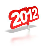 2012 red tag. White background with reflection royalty free illustration