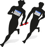 2012 relay race. Passing the baton from the old to the new year stock illustration