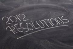 2012 resoluciones en la pizarra Fotografía de archivo libre de regalías
