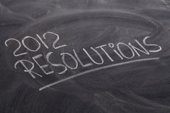 2012 resolutions on blackboard Royalty Free Stock Photography