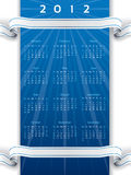 2012 ribbon calendar. 2012 calendar with white and blue ribbon Stock Photography