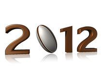2012 rugby design on a white background. With a little reflection on the floor stock illustration