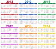 2012 set för 2014 kalender Royaltyfria Bilder