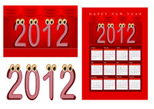 2012 shaped cartoon. A set of 2012 design element, 2012 shaped cartoon character, 2012 calendar vector illustration