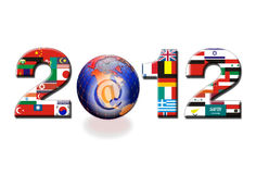 2012 sign in World flags. Illustration of 2012 sign in flags of the world with globe showing North American continent and at sign, isolated on white background Stock Photos