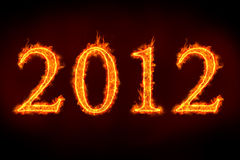 2012 signs on fire. 2012 sign on fire, to illustrate celebrations or so called doomsday royalty free illustration
