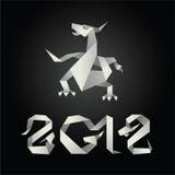 2012 smoka origami rok Zdjęcie Stock