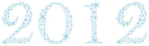 2012 of the Snowflakes. New Year's date of snowflakes royalty free illustration