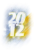 2012 snowy logo. Snowy Text with 2012 logo, in yellow and blue background Stock Image