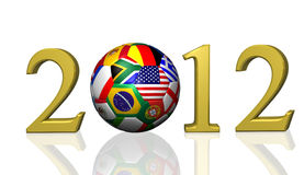 2012 Soccer. Image of a soccer ball and the year 2012 isolated on a white background Royalty Free Stock Images
