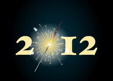 2012 sparkler. 2012 banner with the zero being depicted by a glowing sparkler. Also available in format stock illustration