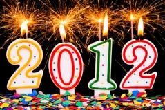 2012 sparklers y confeti Foto de archivo libre de regalías