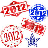 2012 Stamps. 2012 New year rubber stamp illustrations Stock Images