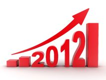 2012 statistics. Abstract diagram 2012 red (done in 3d Royalty Free Stock Photography