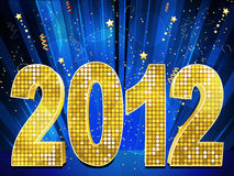 2012 and streamers. Sparkling gold mosaic 2012 on a blue starburst background with streamers and stars Stock Photos