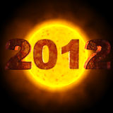2012 Sun. Picture of the year 2012 in front of the sun stock illustration