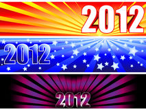 2012 sunburst banners. Trio of sunburst banners for the new year 2012 with fun colorful gradients giving completely different options Royalty Free Stock Photo