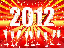 2012 sunburst champagne celebration. Fun and festive 2012 New Year's Eve celebration background with red orange sunburst and champagne glasses and confettis Royalty Free Stock Images