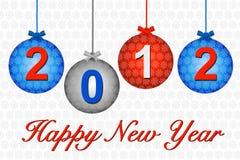 2012 sur des babioles de bleu et d'argent illustration stock