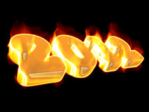 2012 symbol. 3d 2012 symbol with flames vector illustration