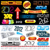 2012 tags. 2012 new year labels, icons, logos, tags and stamps stock illustration