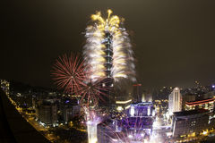 2012 Taipeh 101 Gelukkig Vuurwerk van het Nieuwjaar Stock Foto's