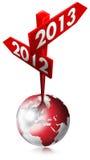 2012 tecken för 2013 red Arkivfoto