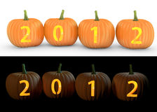 2012 text carved on pumpkin jack lantern. On and white background stock illustration