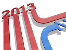 2012 to 2013 New Year Arrows. The numbers 2013 as three dimensional arrows royalty free illustration