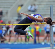 2012 Track - Female college high jumper royalty free stock images
