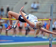 2012 Track and Field - Ladies High Jump. PHILADELPHIA - APRIL 26: Alison Day from Monmouth competes in the ladies college high jump at the Penn Relays April 26 Royalty Free Stock Image
