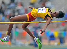 2012 Track - girls high jump. PHILADELPHIA - APRIL 26: Shanice Hall from Wolmers HS competes in the girls high school high jump championship at the Penn Relays Stock Photo