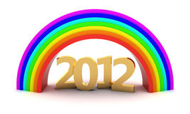 2012 under rainbow. Gold digits 2012 under rainbow. 3d objects isolated on the white background royalty free illustration