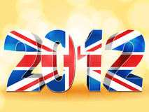 2012 union Jack. 3d 2012 made from a union jack on an orange background with lens flares stock illustration