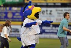 2012 Unterliga-Baseball - Maskottchen auf dem Feld Lizenzfreie Stockfotos