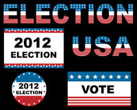 2012 USA election. Designs isolated on black background.EPS file available Stock Image